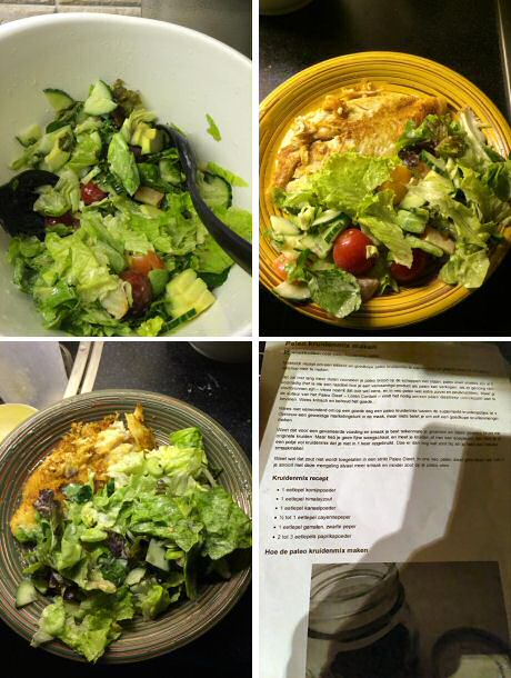 Gezonde gebakken vos met avocado salade