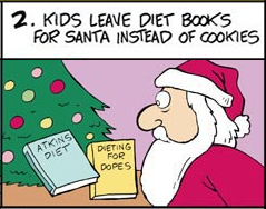 Santa claus diet books in stead of cookies